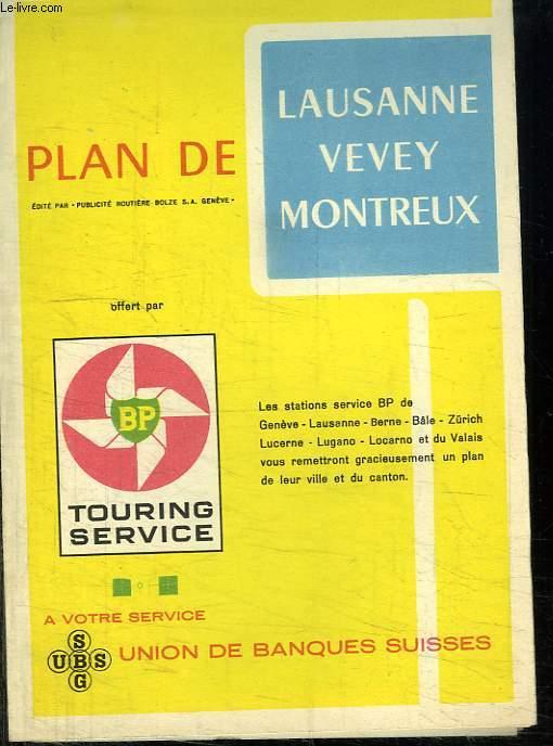 PLAN DE LAUSANNE VEVEY MONTREUX.