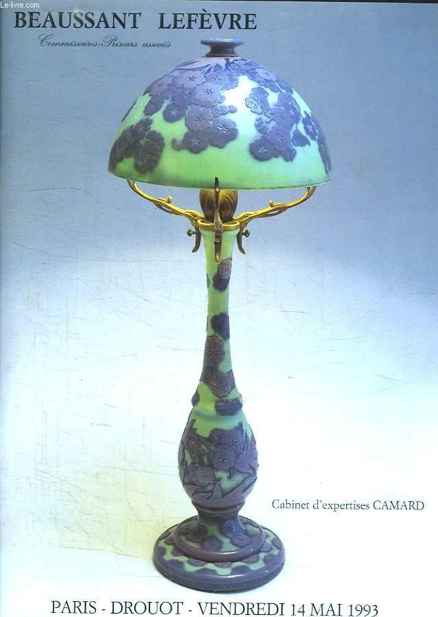 VENTE AUX ENCHERES. DROUT VENDREDI 14 MAI 1993. ART NOUVEAU ART DECO. CERAMIQUE. VERRERIE. SCULTURES. MOBILIER.