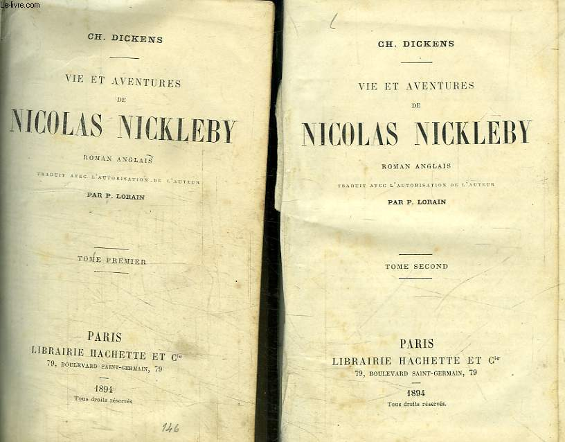 2 TIOMES. VIE ET AVENTURES DE NICOLAS NICKLEBY.