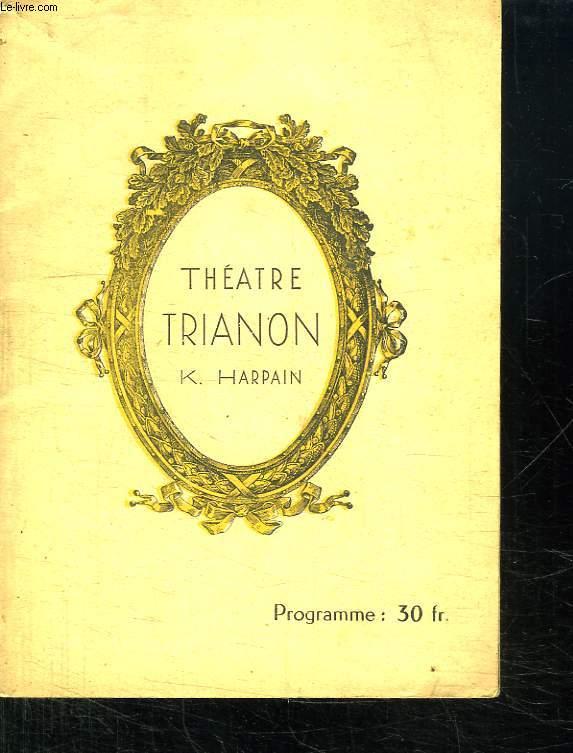 PROGRAMME DU THEATRE TRIANON SAISON 1949 - 1950.