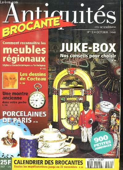 ANTIQUITES BROCANTE N° 13 OCTOBRE 1998. SOMMAIRE: DESSINS DE COCTEAU A COLLECTIONNER, CHINER MALIN LES LAMPES PIGEON...