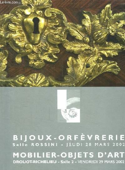 CATALOGUE DE VENTES AUX ENCHERES SALLE ROSSINI LE JEUDI 28 MARS 2002 A 14H 30. BIJOUX ORFEVRERIE IV.
