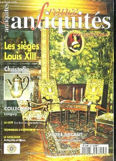 FRANCE ANTIQUITES N° 103. OCTOBRE 1998. SOMMAIRE: LES SIEGES LOUIS XIII. L ARGENTERIE CHRISTOFLE. LES BRONZES ANIMALIERS...