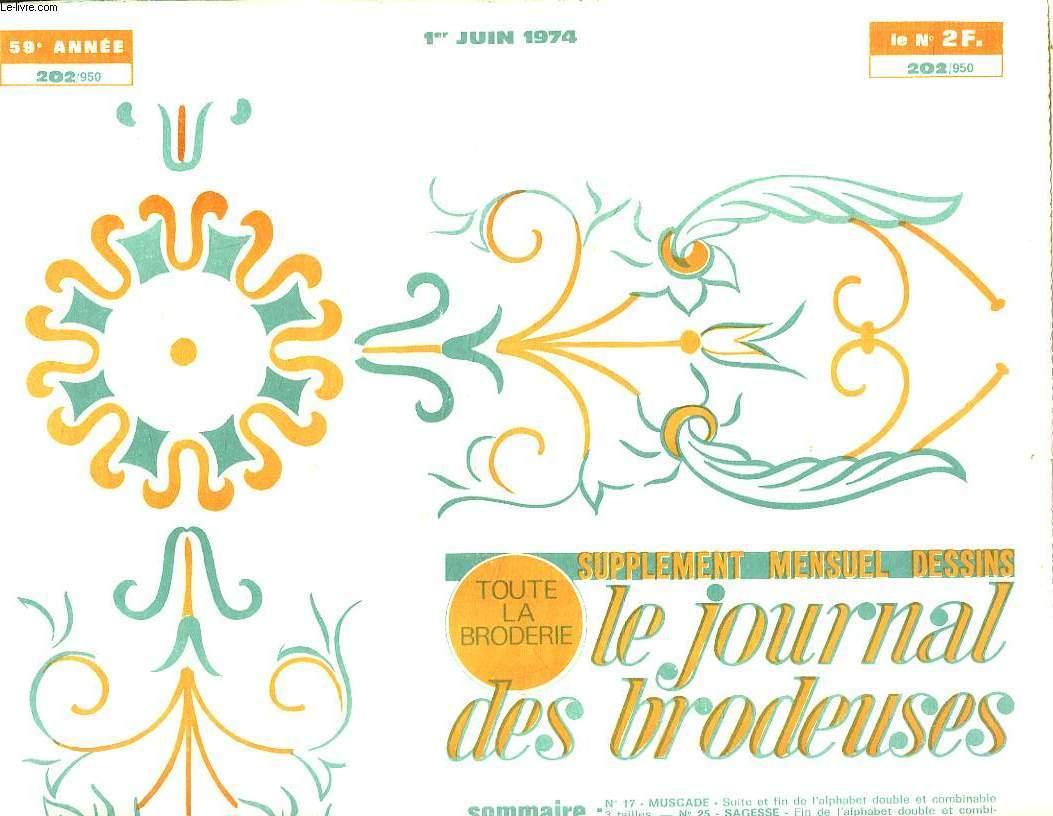 LE JOURNAL DES BRODEUSES N° 202. 1ER JUIN 1974