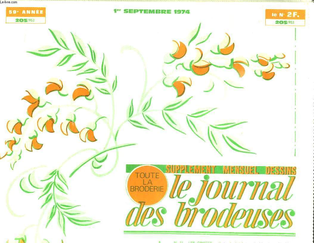 LE JOURNAL DES BRODEUSES N° 205. 1 SEPTEMBRE 1974.