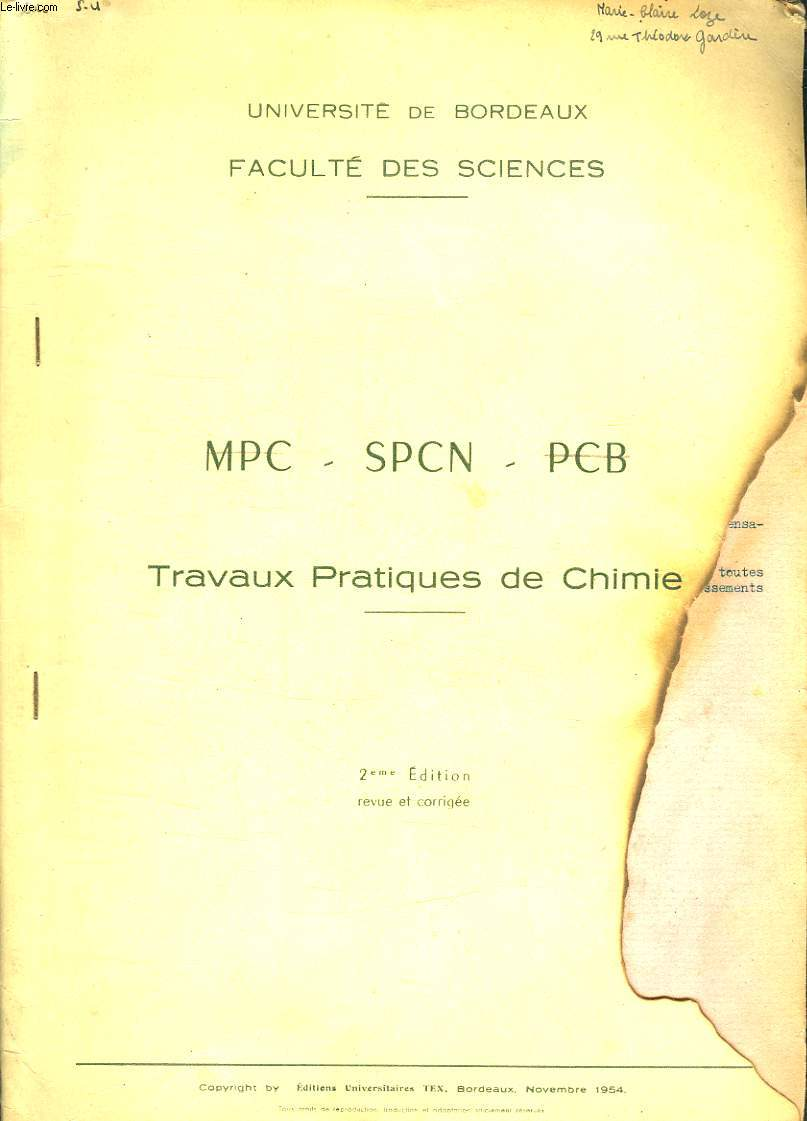 TRAVAUX PRATIQUES DE CHIMIE. MPC - SPCN - PCB.