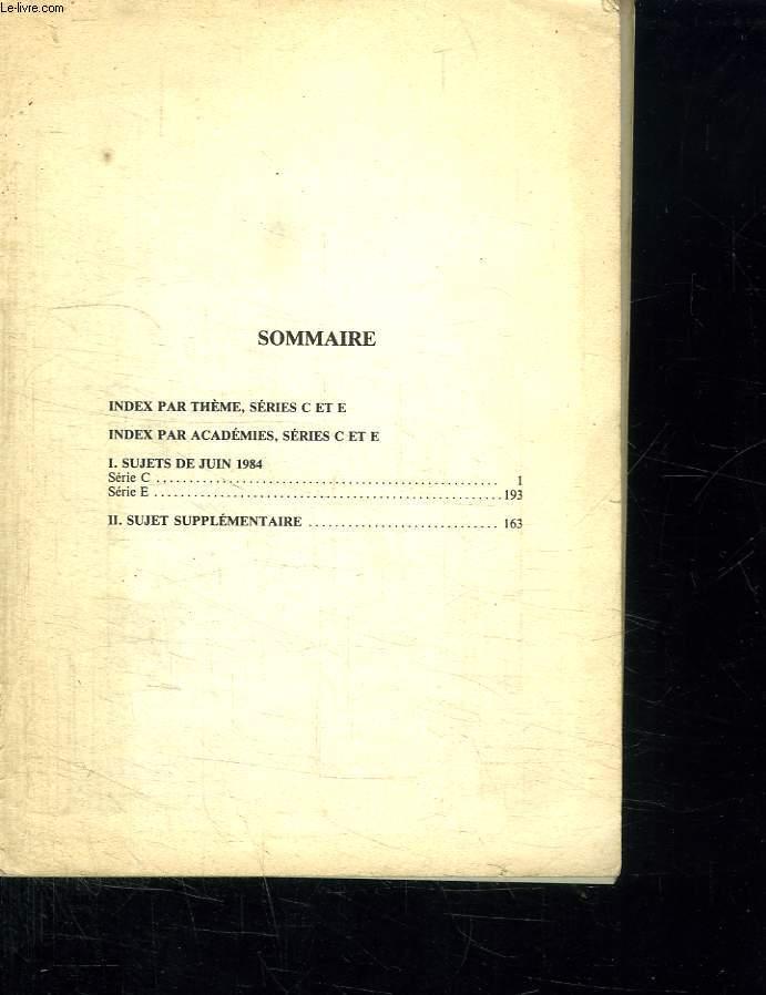 CORRIGES 84 POUR MATHEMATIQUES. BAC 85. TERMINALES CE.