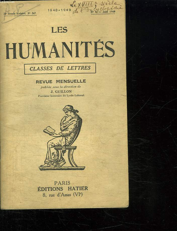 LES HUMANITES. CLASSES DE LETTRES. N° 9 JUIN 1949.