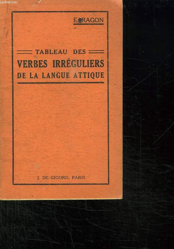 TABLEAU DES VERBES IRREGULIERS DE LA LANGUE ATTIQUE. 27 em EDITION.
