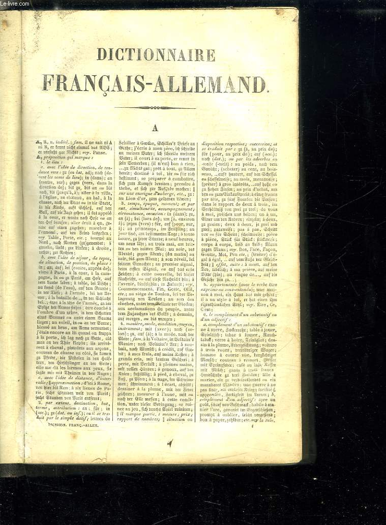 DICTIONNAIRE FRANCAIS ALLEMAND.