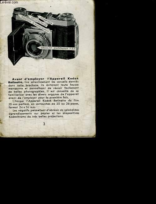 NOTICE DE L APPAREIL KODAK RETINETTE F 3.5.