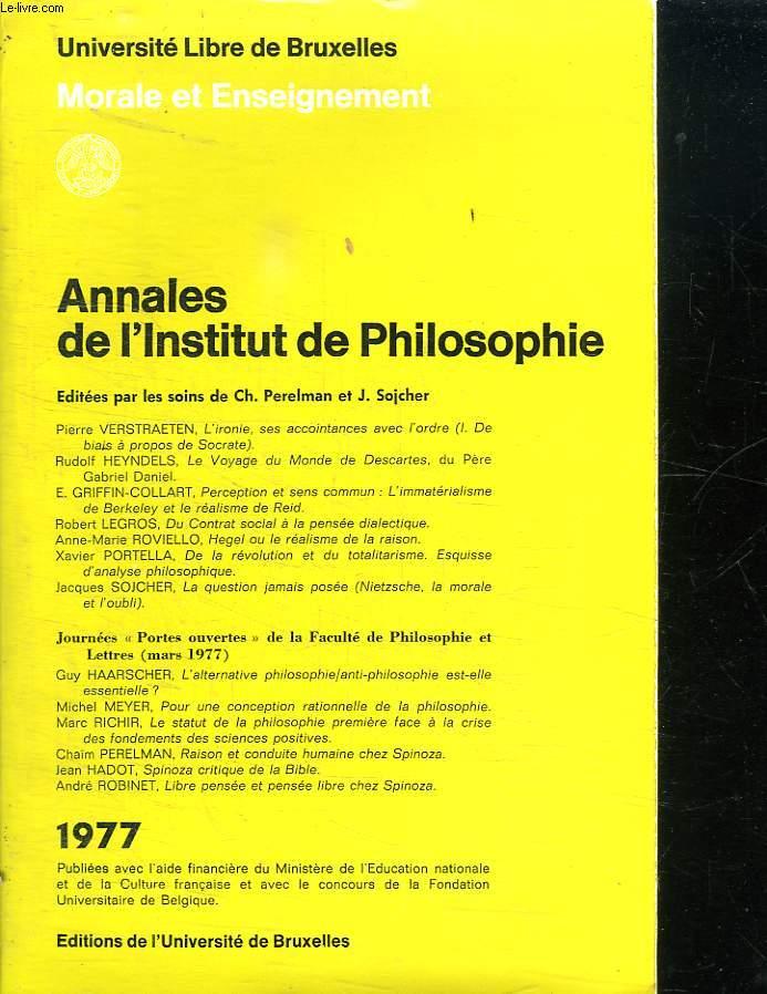 ANNALES DE L INSTITUT DE PHILOSOPHIE.