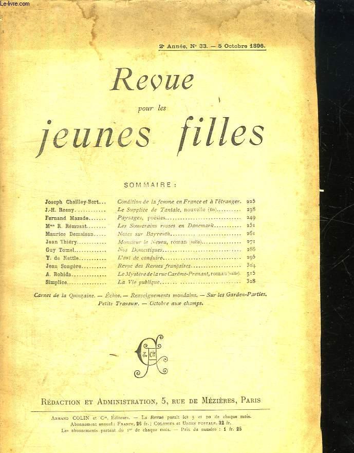 REVUE POUR LES JEUNES FILLES N° 33 DU 5 OCTOBRE 1896.
