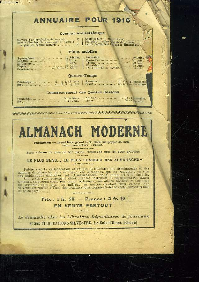 ANNUAIRE POUR 1916. ALMANACH MODERNE.