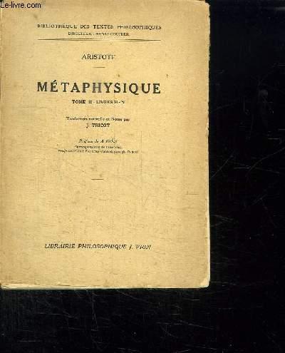 METAPHYSIQUE TOME II LIVRES HN.