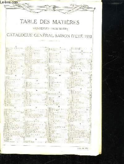 CATALOGUE GENERAL SAISON D ETE 1910