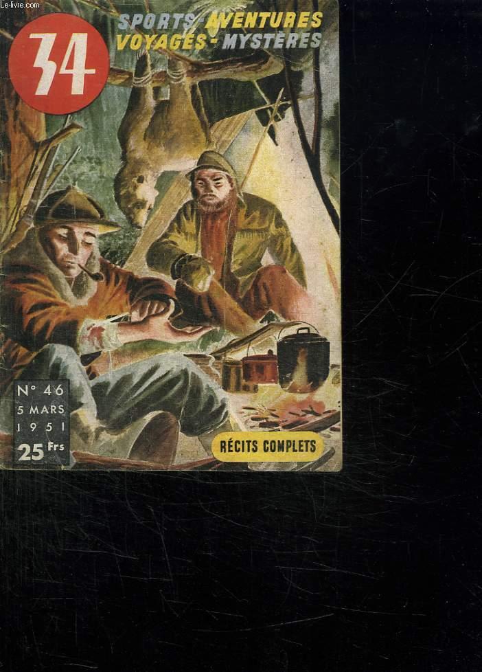 SPORTS AVENTURES VOYAGES MYSTERES N° 46 5 MARS 1951.