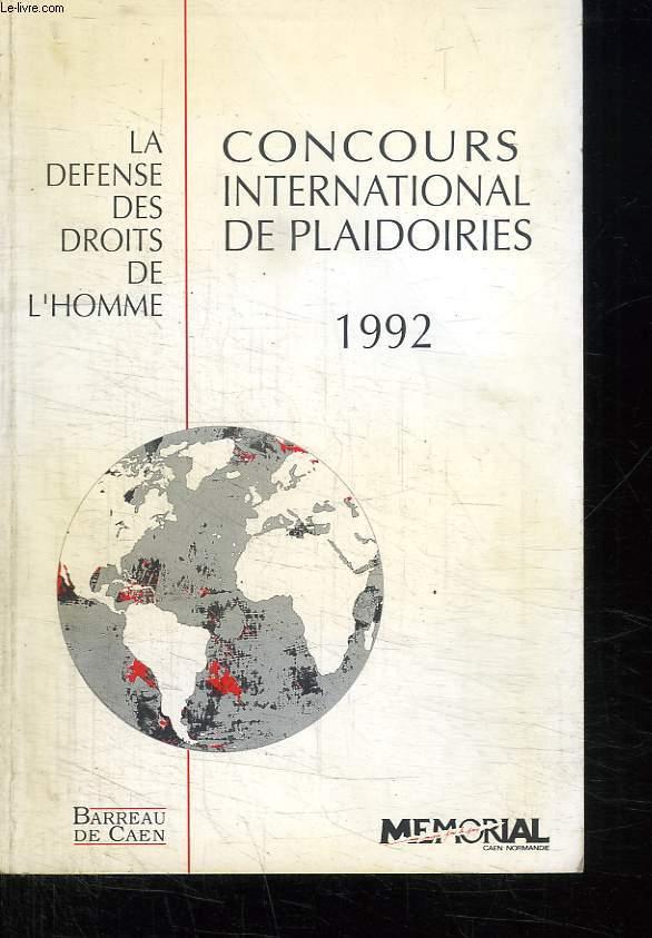 CONCOURS INTERNATIONAL DE PLAIDOIRIES. 1992.