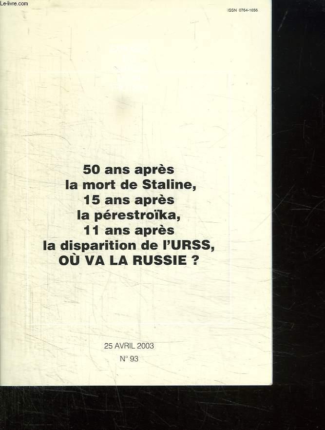 EXPOSES DU CERCLE LEON TROTSKY N° 93 DU 25 AVRIL 2003. 50 ANS APRES LA MORT DE STALINE, 15 ANS APRES LA PERESTROIKA, 11 ANS APRES LA DISPARITION DE L URSS OU VA LA RUSSIE ?