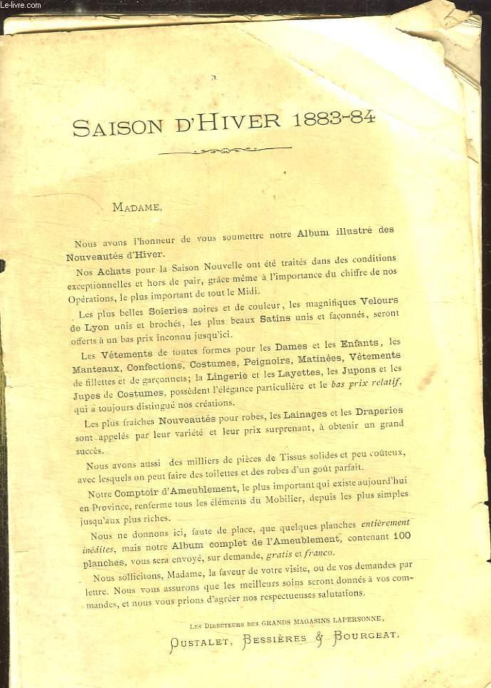 CATALOGUE GRAND MAGASINS LAPERSONNE SAISON D HIVER 1883 - 1884.