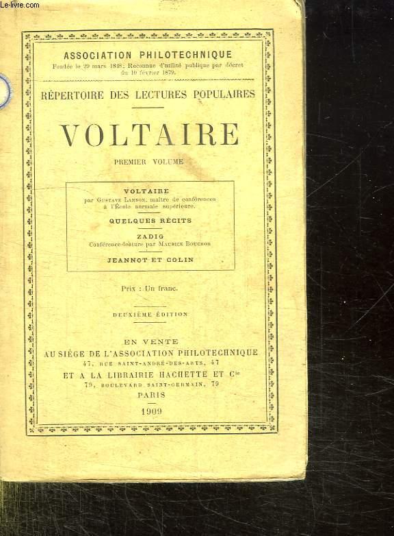 REPERTOIRE DES LECTURES POPULAIRES. VOLTAIRE. PREMIER VOLUME.