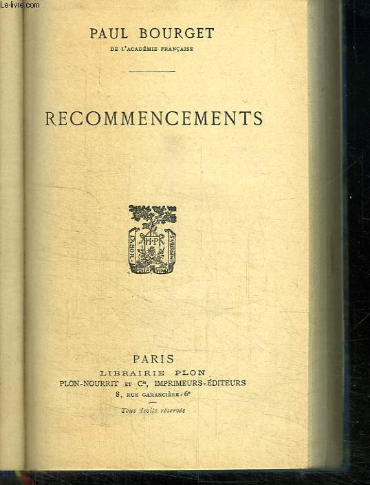 RECOMMENCEMENTS.