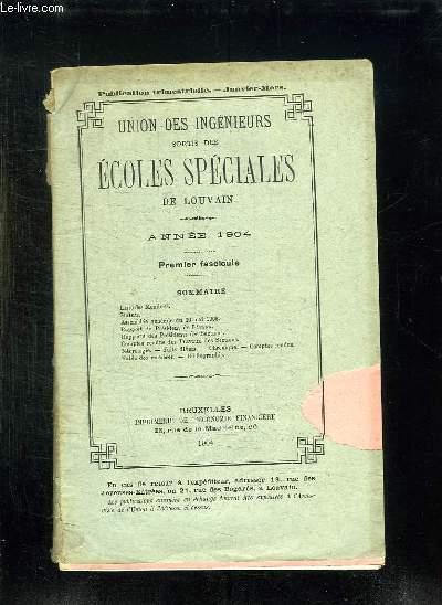 UNION DES INGENIEURS SORTIS DES ECOLES SPECIALES DE LOUVAIN ANNEE 1904.