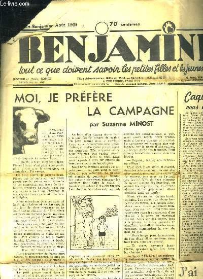 BENJAMINE N° 511. AOUT 1939. TOUTS CE QUE DOIVENT SAVOIR LES PETITES FILLES ET LES JEUNES FILLES.