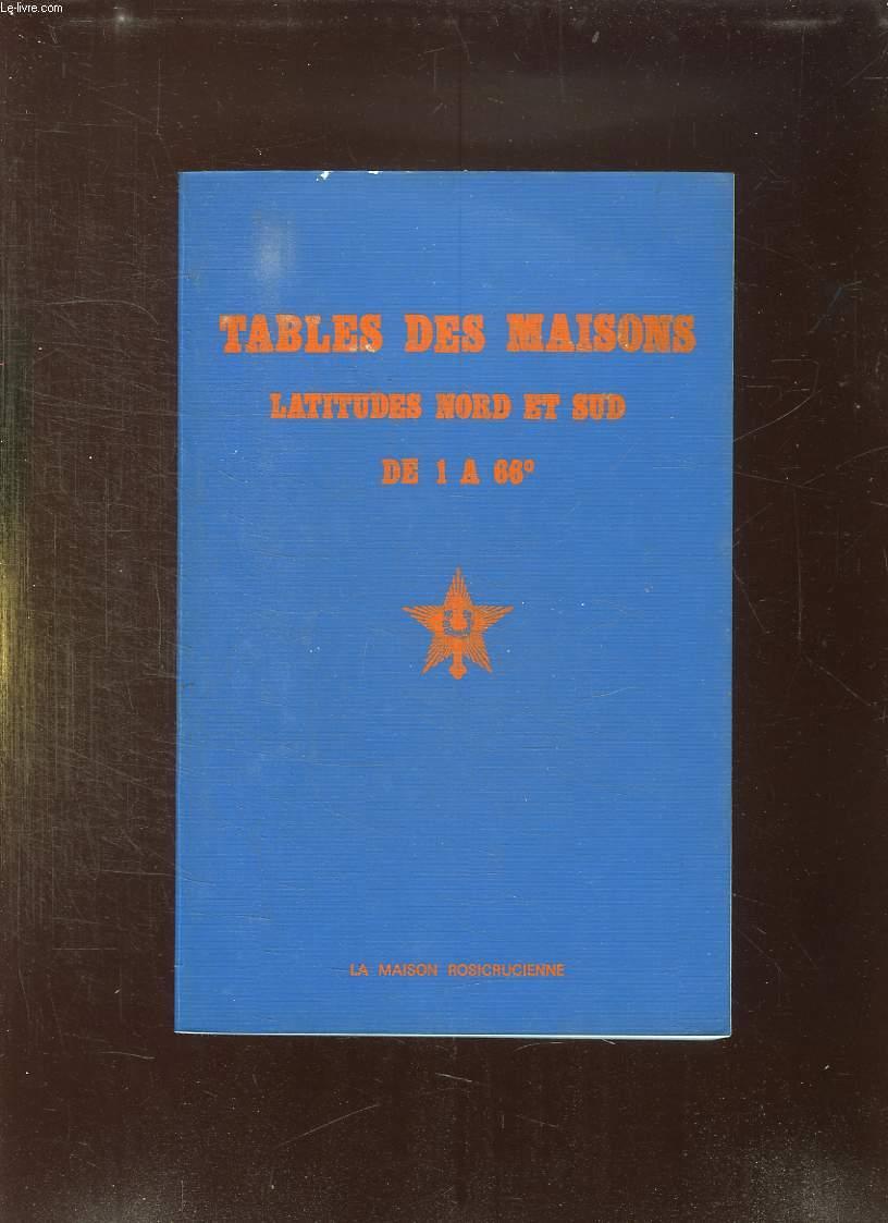 TABLES DES MAISONS. LATITUDES NORD ET SUD DE 1 A 66.