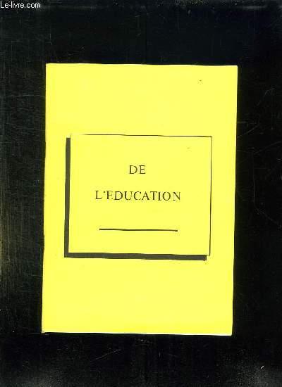 DE L EDUCATION.