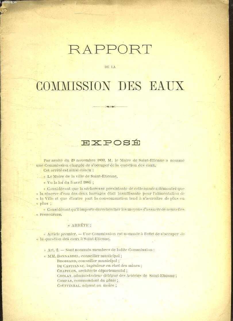 RAPPORT DE LA COMMISSION DES EAUX. EXPOSE.