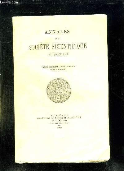ANNALES DE LA SOCIETE SCIENTIFIQUE DE BRUXELLES. 33em ANNEE 1908 - 1909. PREMIER FASCICULE.