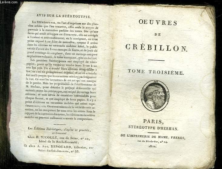 OEUVRES DE CREBILLON. TOME 3.