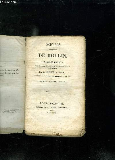 OEUVRES COMPLETES DE ROLLIN. NOUVELLE EDITION. TOME 2:  HISTOIRE ANCIENNE.