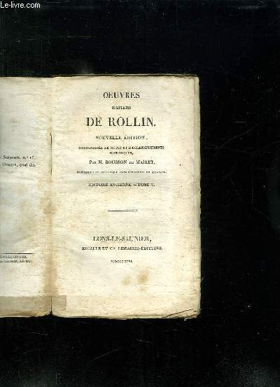 OEUVRES COMPLETES DE ROLLIN. NOUVELLE EDITION. TOME 5: HISTOIRE ANCIENNE.