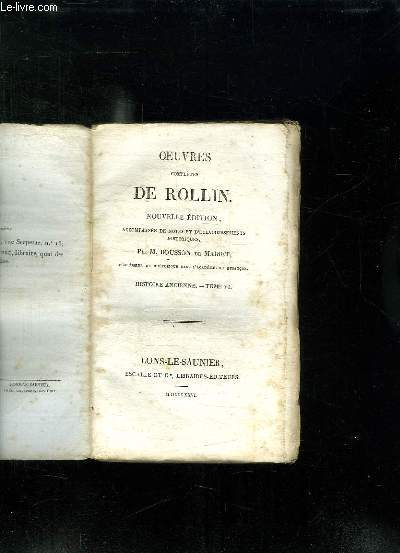 OEUVRES COMPLETES DE ROLLIN. NOUVELLE EDITION. TOME 6: HISTOIRE ANCIENNE.