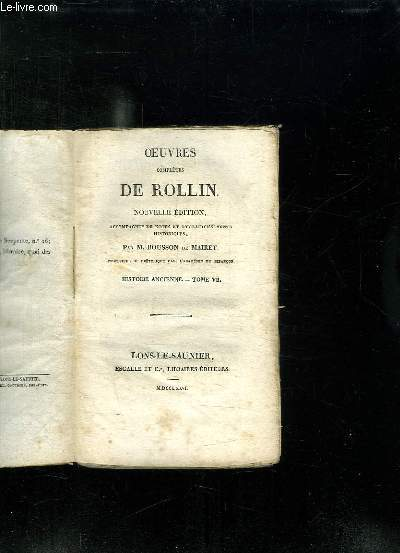OEUVRES COMPLETES DE ROLLIN. NOUVELLE EDITION. TOME 7: HISTOIRE ANCIENNE.