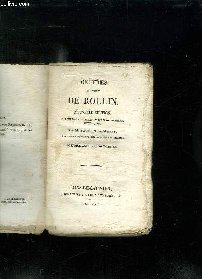 OEUVRES COMPLETES DE ROLLIN. NOUVELLE EDITION. TOME XI HISTOIRE ANCIENNE.
