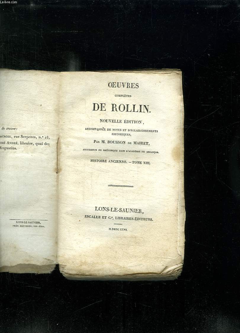 OEUVRES COMPLETES DE ROLLIN. NOUVELLE EDITION. TOME XIII. HISTOIRE ANCIENNE.
