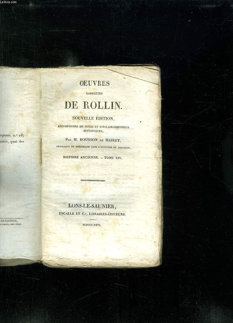 OEUVRES COMPLETES DE ROLLIN. NOUVELLE EDITION. TOME XIV HISTOIRE ANCIENNE.