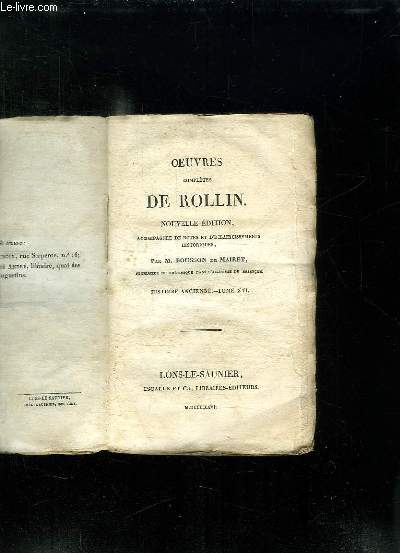 OEUVRES COMPLETES DE ROLLIN. NOUVELLE EDITION. TOME XVI. HISTOIRE ANCIENNE.