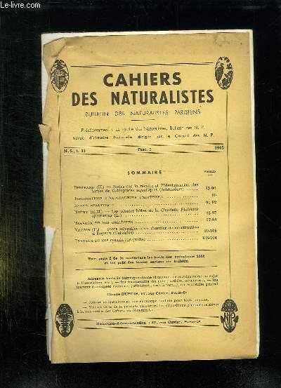 CAHIERS DES NATURALISTES FASC N° 3 1965. SOMMAIRE: NOTES SUR LA RECOLTE ET L IDENTIFICATION DES LARVES DE COLEOPTERES AQUATIQUES, LES PLANTES DOTES DE LA CICADELLE PHILAENUS SPUMARIUS...