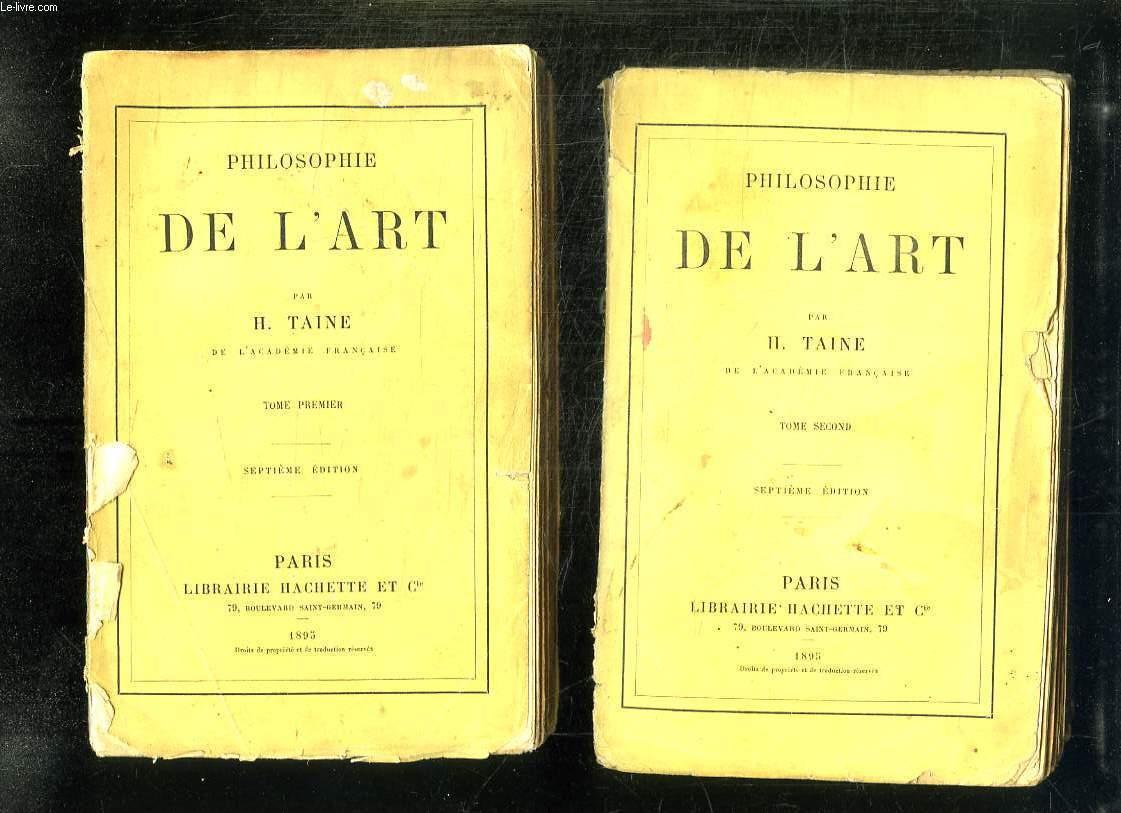 2 TOMES. PHILOSOPHIE DE L ART. 7em EDITION.