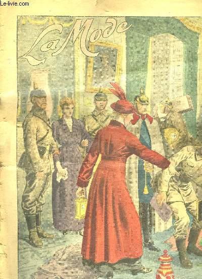 LA MODE N° 3 DU 17 JANVIER 1915. LA FEMME DU MARECHAL ALLEMAND VON HINDERBURG ORGANISANT METHODIQUEMENT LE PILLAGE EN POLOGNE.