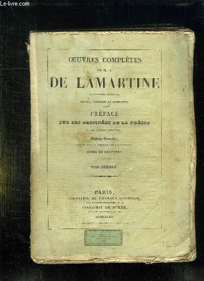 OEUVRES COMPLETES DE MA DE LAMARTINE. TOME 1.