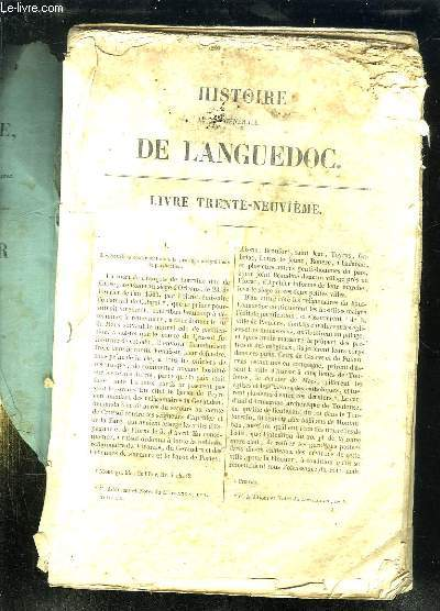 HISTOIRE GENERALE DU LANGUEDOC LIVRE 39e.