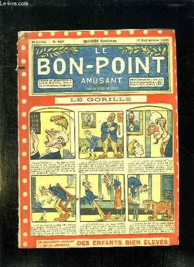 LE BON POINT N° 407 DU 16 SEPTEMBRE 1920. LE GORILLE.