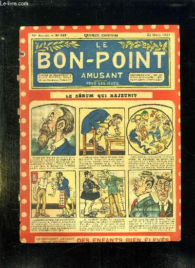 LE BON POINT N° 435 DU 31 MARS 1921. LE SERUM QUI RAJEUNIT.