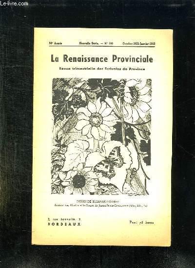 LA RENAISSANCE PROVINCIALE N° 100 OCTOBRE 1952 A JANVIER 1953. DESSIN DE SUSANNE FAVRIOU.
