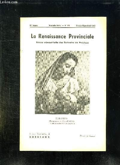 LA RENAISSANCE PROVINCIALE N° 101 FEVRIER MARS AVRIL 1953. MADONNA PHOTOGRAPHIE PAR MANUEL AMPUDIA.